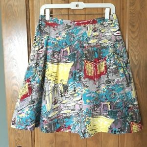 Village Cafe Abstract Print Cotton Skirt
